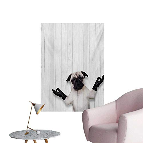 Anzhutwelve Animal Photographic Wallpaper Spiritual Funny Bulldog with Leather Gloves on Wood Board Funny Cute Image PrintBlack White W32 xL36 Wall Poster
