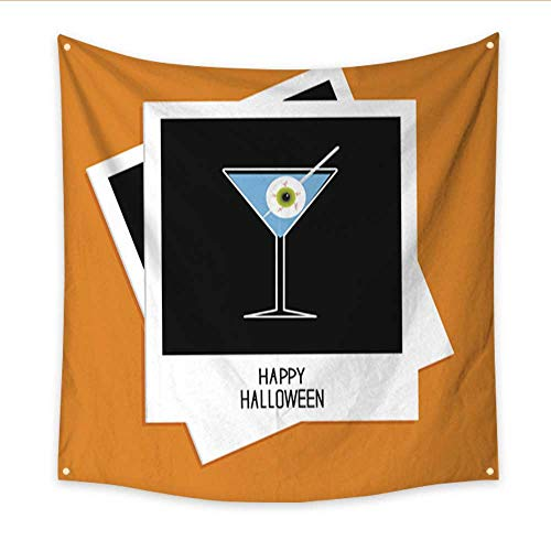 Anniutwo Beach Wall Tapestry Instant Photo Martini Glass Blue Cocktail and Eyeball Halloween Flat Dorm Living Room Bedroom 70W x 70L Inch -