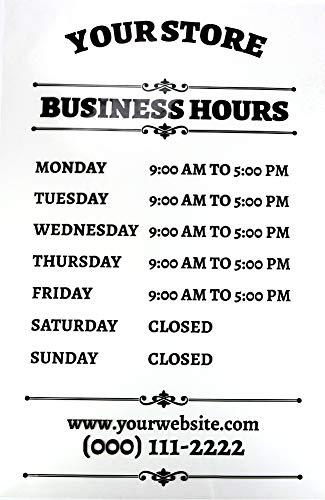 """Buttonsmith Custom Store Hours Shop Sign - 12"""" x 18"""" - Quantity 1 - Personalized - for Mounting on Inside of Window or Door Glass - Designed and Printed in The USA"""