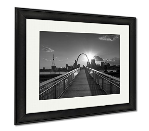 Ashley Framed Prints St Louis Missouri Skyline From Malcolm W Martin Memorial Park, Office/Home/Kitchen Decor, Black/White, 30x35 (frame size), Black Frame, - Glasses For Malcolm X Sale