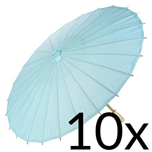 Quasimoon PaperLanternStore.com Bulk CASE 32 Water Blue Paper Parasol Umbrellas (10 Pack)