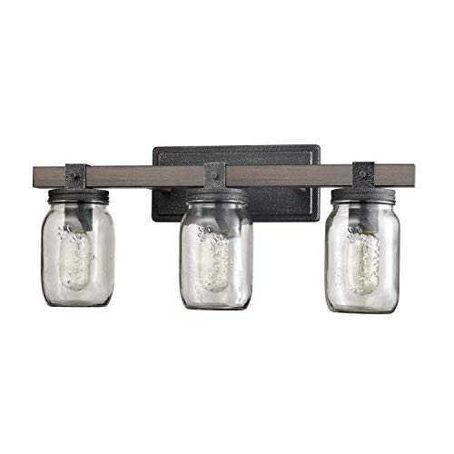 (Vintage Three Light Bathroom Vanity Fixture with Glass Jar Shade & Metal Wood Grain Finish)