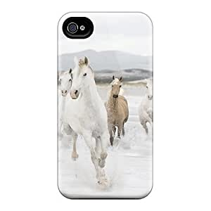 First-class Case Cover For Iphone 4/4s Dual Protection Cover White Tan Horse Galloping On A Beach