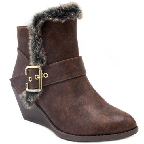 Sugar Women's Jane Winter Wedge Boot Ankle Bootie 9.5 Brown