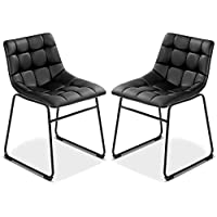 Costway Set of 2 Dining Side Chairs Modern PU Leather...