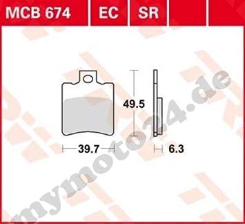 Bremsbelag TRW Lucas MCB674 Organische Mischung mit ABE f/ür Aprilia Amico 50 Sport Baujahr 1992