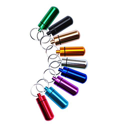 MYWHITENG 9Pcs Aluminum Alloy Keychain Pill Holder Fob Small Waterproof Geocaching Containers with Key Ring