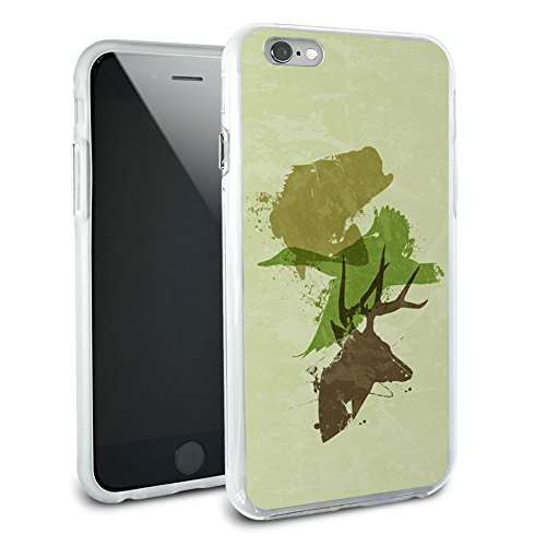 Hunting Fishing Collage Design - Hunter Deer Duck Bass Trout Camouflage Protective Slim Hybrid Rubber Bumper Case for Apple iPhone 6 6s Plus (FITS PLUS MODEL ONLY) ()