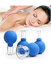 4 stuks cupping glazen set met zuigbal, glas - siliconen massage cupping set voor hoofdmassage gezicht lichaam anti-aging (4 verschillende maten)