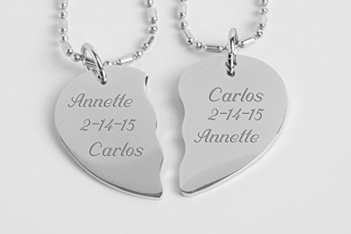 Engraved Couple's Broken Heart Necklace Set