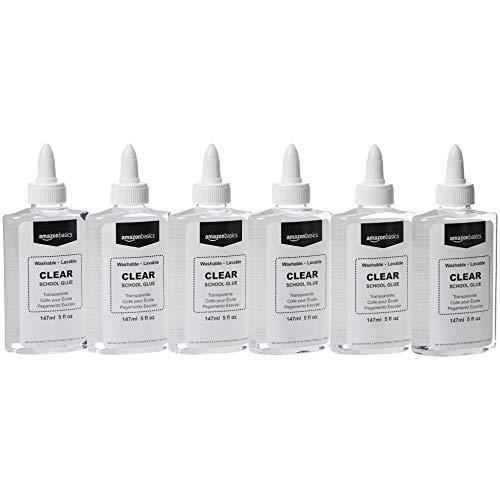 AmazonBasics Washable Liquid School Glue, 5 oz Bottle, Clear, 6-Pack