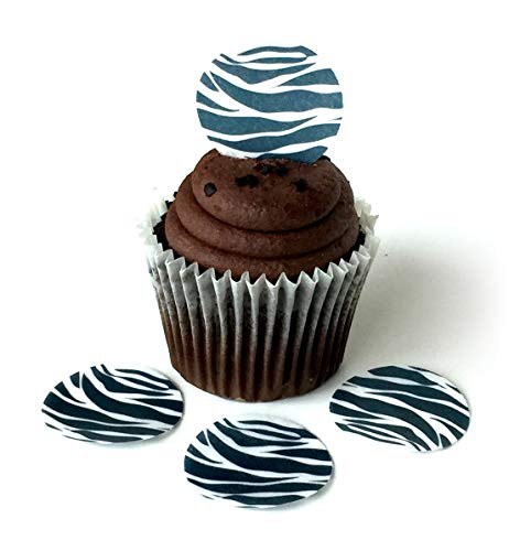 Zebra Print Cookie - Zebra Animal Print Black White Wafer Paper Toppers 1.5 Inch for Decorating Desserts Cupcakes Birthday Cakes Cookies Pack of 12