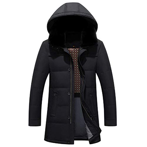 New 2018 Men's Down Jacket Hooded Warm Winter Jacket Thick Business Casual,Black,XXXL