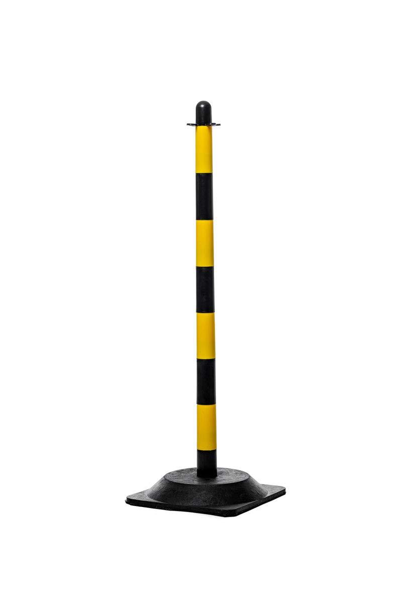 Flexibarrier Post /& Chain Barrier Kit -Basic-, Red//White - Black Yellow 16 posts // 20m chain, Black//Yellow - Rubber base