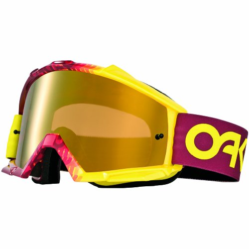 Oakley Proven MX Factory Fade Goggles with Red/Yellow Print Frame (White Frame/Fire Iridium - Sunglasses Oakley And Red White