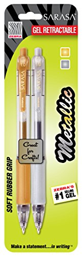 Zebra Sarasa Metallic BOLD Gel Pen, Retractable 1.0mm, Assorted, 2 Pack (46602)