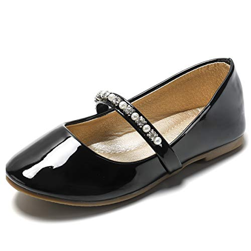 SANDALUP Little Girls Dress Shoes Ballet Flats Inlaid with Pearl and Rhinestone Strap Patent Black 001]()