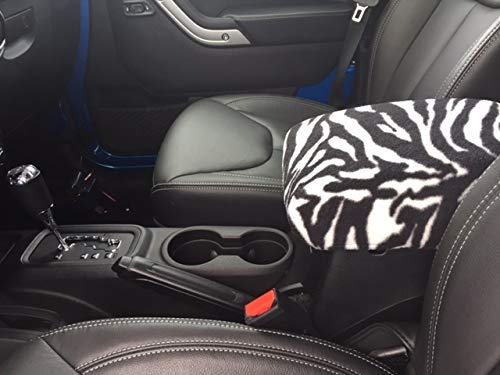 Auto Console Covers- Compatible with The Ford Taurus 2010-2018 Center Console Armrest Cover Fleeces - Zebra Print