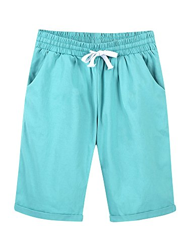 (Women's Elastic Waist Casual Knee Length Curling Bermuda Shorts with Drawstring Turquoise - M)