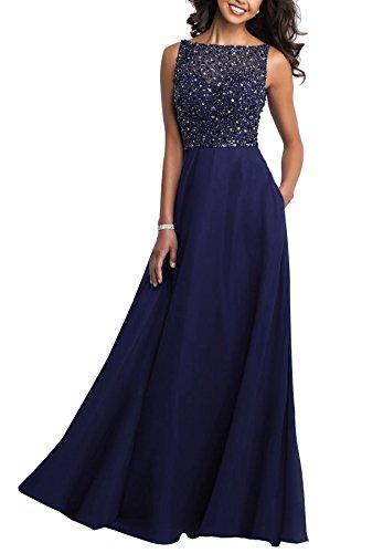 Beauté Robe De Bal Scoop Femmes Robes De Mariée De Partie De Soirée Formelle Perles Longues Bleu Marine J17