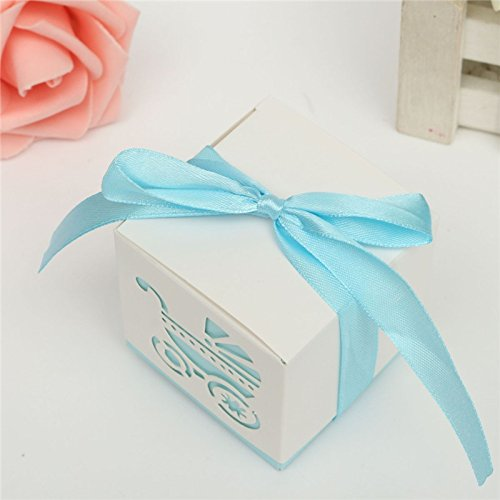 10Pcs Cut Baby Shower Carriage Ribbon Boxes Wedding Anniversary Candy Boxes