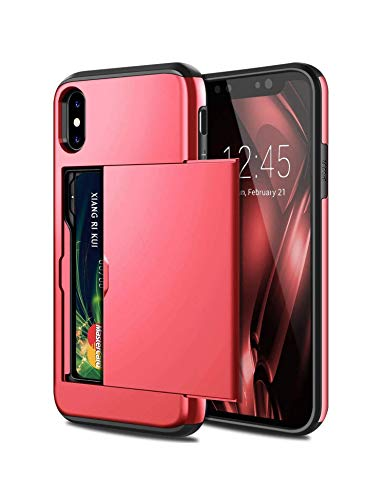 Slot Holder Cover for iPhone X XS MAX XR 7 8 Plus 6 6S Card Armor Slide Card Case for Samsung S8 S9 Plus S6 S7 Edge Note 9 Case,Red,Galaxy S9 Plus