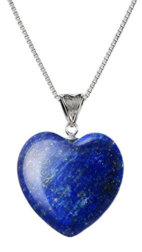 Sterling Silver Lapis Lazuli Gemstone Necklace 18 inch Heart Necklace Healing Crystals Chakra Stones Great Gifts NK18GP16