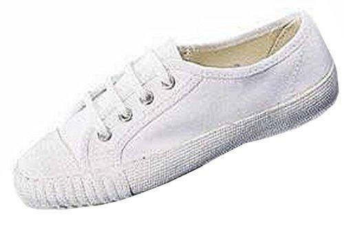 Unisex Schule PE Leinwand Laceup Plimsolls Stiefel Trainer Gym Pumpen Schuhe Weiß
