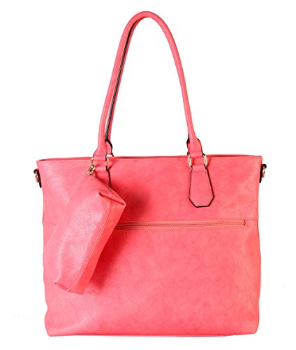 diophy-diaper-bag-pu-leather-weekender-extra-large-tote-with-baby-changing-pad-coral