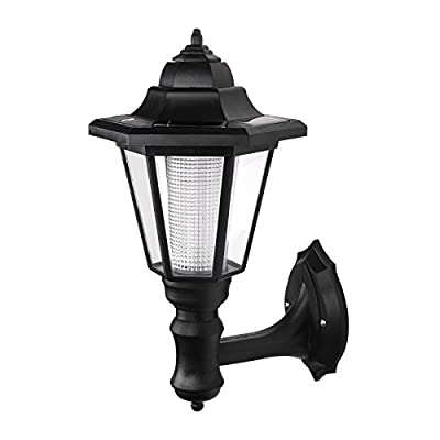 ONEVER Solar Vintage Wall Lamp Outdoor   Led Hexagonal Wall Light   Wall-mounted Landscape   Garden Fence Yard Lamps   Waterproof Warm White