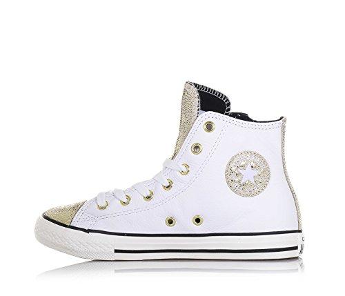 con laterale e zip chiusura Oro dorata Donna logo laterale Bianco e suola Bambina bianca gomma CONVERSE vista in Ragazza a pelle cuciture e in Sneaker stringata w7cxSq0p