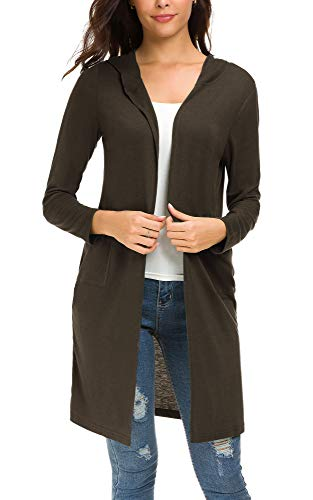 Urban CoCo Women's Classic Open Front Lightweight Long Hooded Cardigan (XL, Coffee)