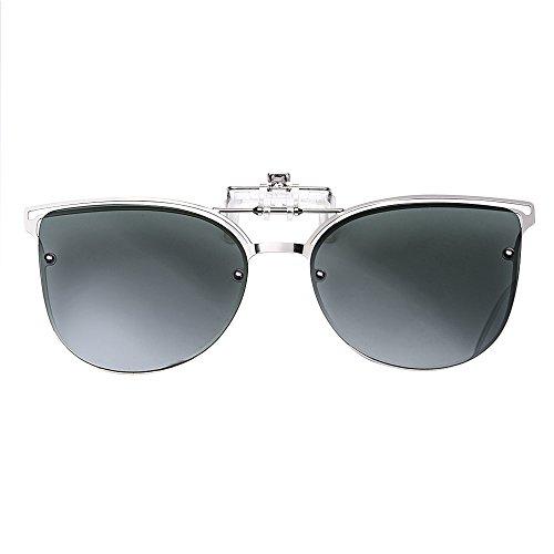 TERAISE Women's Clip-on Sunglasses for Prescription glasses- Polarized Flip up Vintage Cat Eye Sunglasses Driving for Ladies