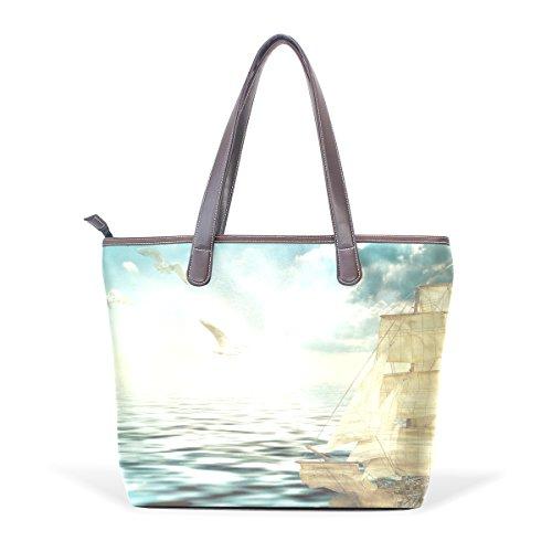 COOSUN Damen Sailing Sea Pu Leder Große Einkaufstasche Griff Umhängetasche