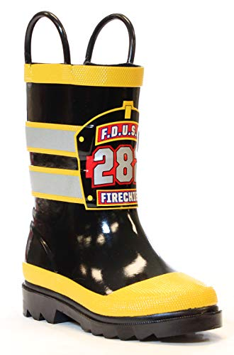 Western Chief Boys Waterproof Printed Rain Boot with Easy Pull On Handles, F.D.U.S.A., 10 M US Toddler