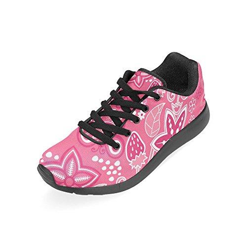 Interestprint Womens Väg Löparskor Jogging Lätta Sport Gå Atletiska Sneakers Rosa Blommor Och Fjäril