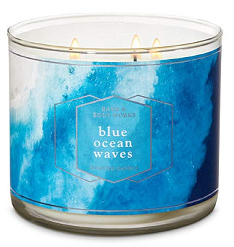 Bath and Body Works Blue Ocean Waves Scented Three Wick Candle 14.5 oz (ocean breeze, sea spray and sandalwood) (Best 3 Wick Candles)