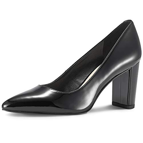 JENN ARDOR Chunky Thick Block Heel Pumps Pointed Closed Toe Office Dress Lady High Heel Shoes Black 8 M US