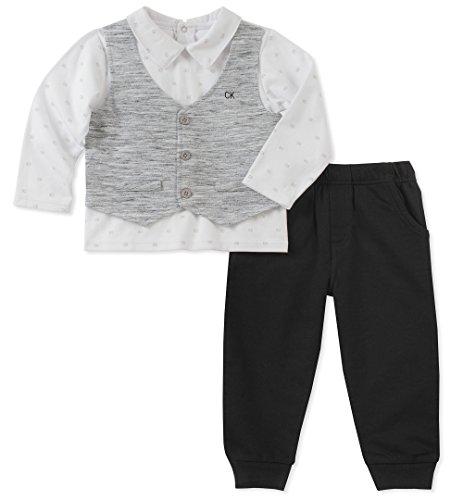 Calvin Klein Baby Boys 2 Pieces Pant Set-Mock Look 3PC, White/Gray/Black, 6-9 Months ()