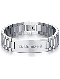 Personalized Engrave Men's Stainless Steel Chain Classic Watch Band ID Tag Identification Bracelets for Men