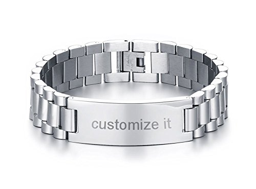 PJ Jewelry Personalized Engrave Men's Stainless Steel Chain Classic Watch Band ID Tag Identification Bracelets, (Silver Chain Bracelet Watch)