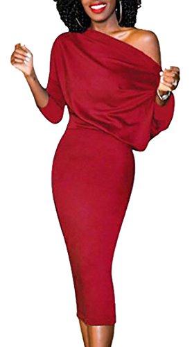 Jaycargogo Une Robe Épaule Cocktail Moulante Couleur Unie Fête Midi Féminin Rouge