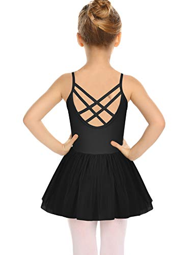 Cross Front Leotard - Zaclotre Girls Cross Strap Tutu Skirted Leotard Glitter Ballet Dance Dress Black