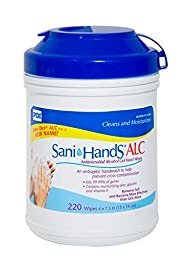 Sammons Presron Sani-Hands Antimicrobial Alcohol Gel Hand Wipes Canister 6\