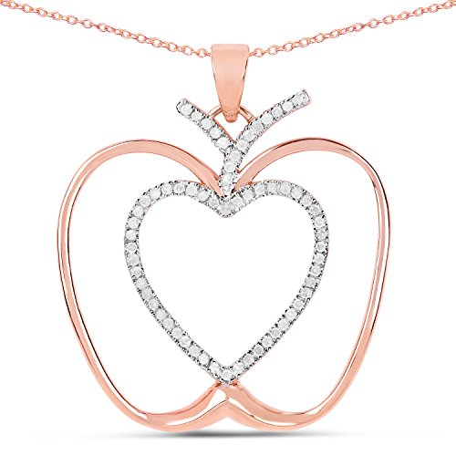 Huang and Co. Apple Pendant 14K Rose Gold Plated 0.18 Carat Genuine White Diamond .925 Sterling Silver