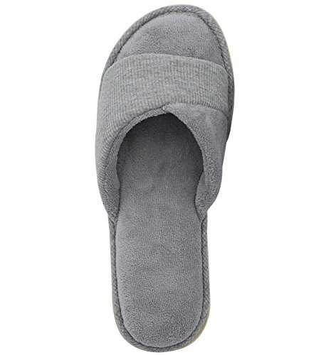 Gray with Velvet Toe Women's Indoor Foam Memory Open Spring Summer HomeIdeas Shoes Slippers Terrycloth House Comfy Slide Lining TRHn4n0