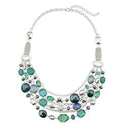 Multi Layer Crystal Colored Glaze Strand Necklace