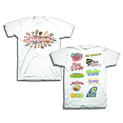Nickelodeon Mens 90's Classic Shirt - Rugrats & Hey Arnold Vintage Front and Back T-Shirt (White, ()