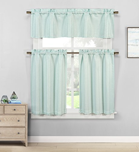 Kensie Jane Linen Textured Sequin Jacquard Kitchen Tier & Valance Set | Small Window Curtain for Cafe, Bath, Laundry, Bedroom, Spa Blue