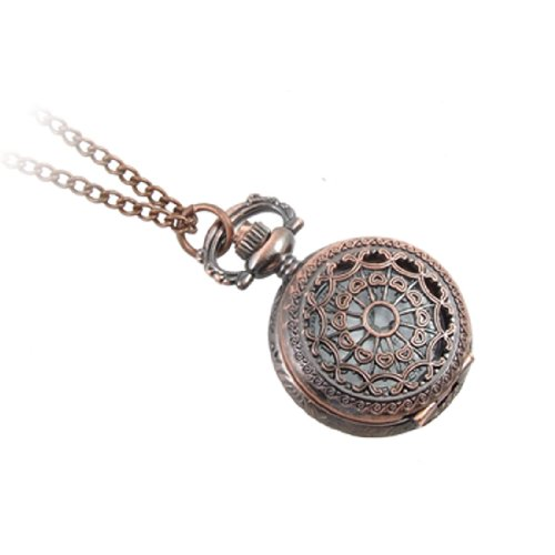 Rosallini Ladies Hollow Floral Necklace Pocket Watch Copp...